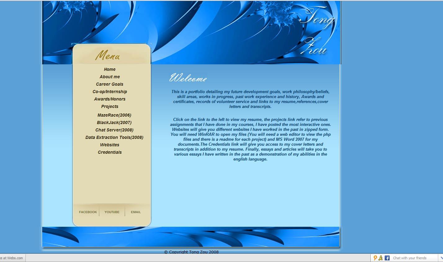Previous portfolio site (2008-2009)