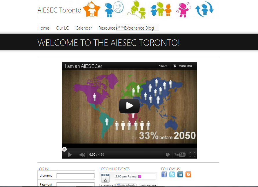 AIESEC Toronto's website, running WordPress