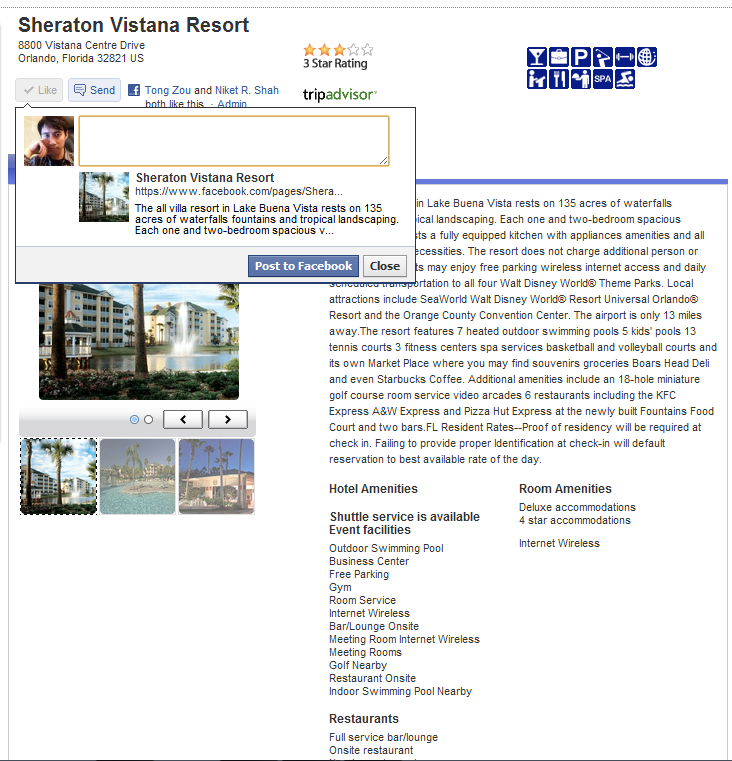 Liking hotels using FB API