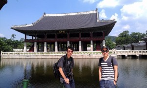 Me and my friend at Gyeongbuk Palace