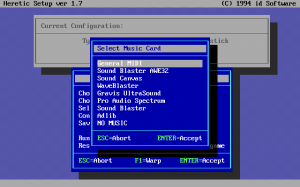 A typical DOS game setup screen