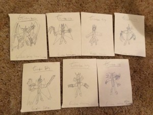 I drew all the Gundam mobile suits...